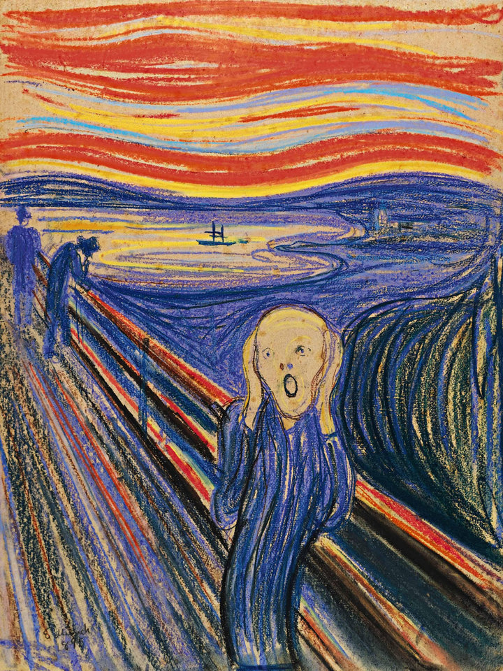 """Photo -   In this undated photo provided by Sotheby's Auction House in New york, """"The Scream,"""" Edvard Munch is shown. The 1895 pastel on board, arguably one of the art world's most recognizable images, sold Wednesday, May 2, 2012 for a record $119,922,500 by Sotheby's in New York City. (AP Photo/Sotheby's Auction House)"""