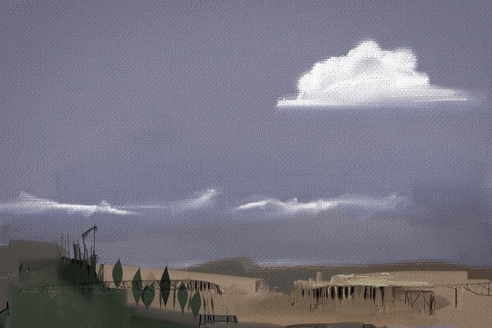 "Using the ArtRage mobile application for the IPhone, arist Benjamin Rabe created this work, called ""Landscape."" PHOTO PROVIDED. <strong></strong>"