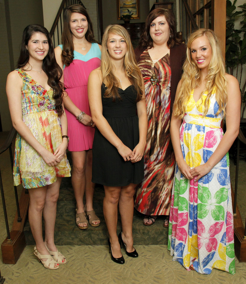 From left, Beaux Arts Debutantes Maddie Coffey, Alexa Lienhard, Caroline Cameron, Rachel Portman and Katie Brown pose for a photo at Oklahoma City Golf and Country Club in Nichols Hills, Okla., Wednesday, May 23, 2012. Photo by Nate Billings, The Oklahoman