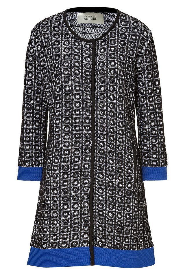 To get the first lady's elegant daytime look, try the Steffen Schraut black and blue Broadway Jacquard knit coat for $405 from Stylebop.com. (Stylebop.com via Los Angeles Times/MCT)