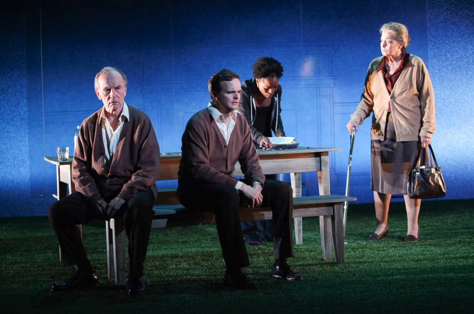 Shown in a publicity photo released by Lincoln Center Theater are, from left, Robert Hogan, Dashiell Eaves, Marsha Stephanie Blake and Jenny O\'Hara, in a scene from the LCT3 production of
