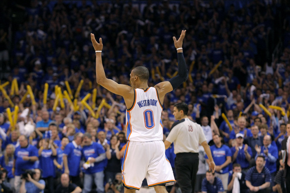 Oklahoma City's Russell Westbrook (0) reacts late in the game during the first round NBA playoff game between the Oklahoma City Thunder and the Denver Nuggets on Sunday, April 17, 2011, in Oklahoma City, Okla. Photo by Chris Landsberger, The Oklahoman