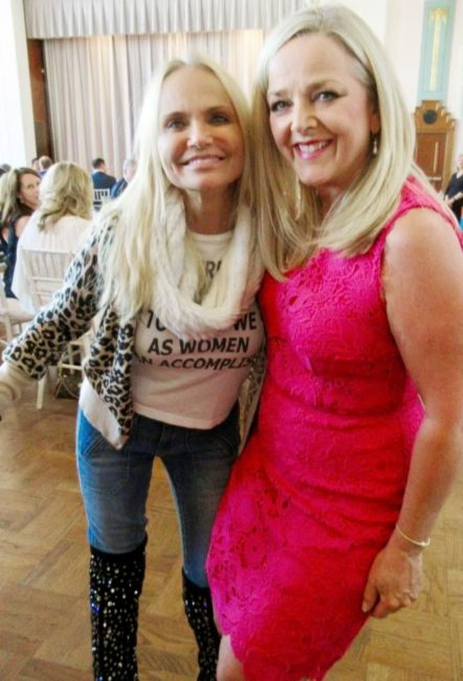 "Photo -  Kristin Chenoweth and Deborah McAuliffe Senner at dinner prior to the ""My Love Letter to Oklahoma"" performance by Chenoweth at the Civic Center Music Hall. [HELEN FORD WALLACE PHOTOS/THE OKLAHOMAN]"
