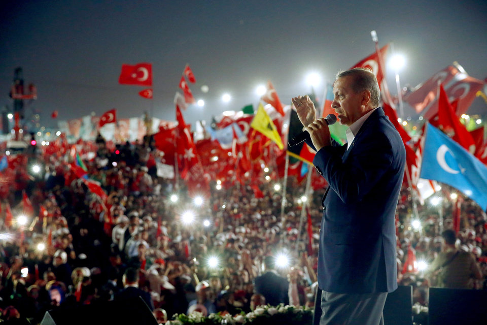 Photo -  Turkish President Recep Tayyip Erdogan delivers a speech Aug. 7 during a Democracy and Martyrs' Rally in Istanbul. [File photo by Kayhan Ozer, Presidential Press Service via AP]