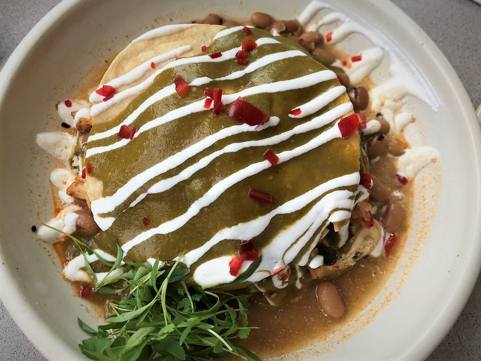 Photo - Smokestack Enchiladas from Frida Southwest, which opens in the Paseo Arts District on Friday. [Dave Cathey/The Oklahoman]