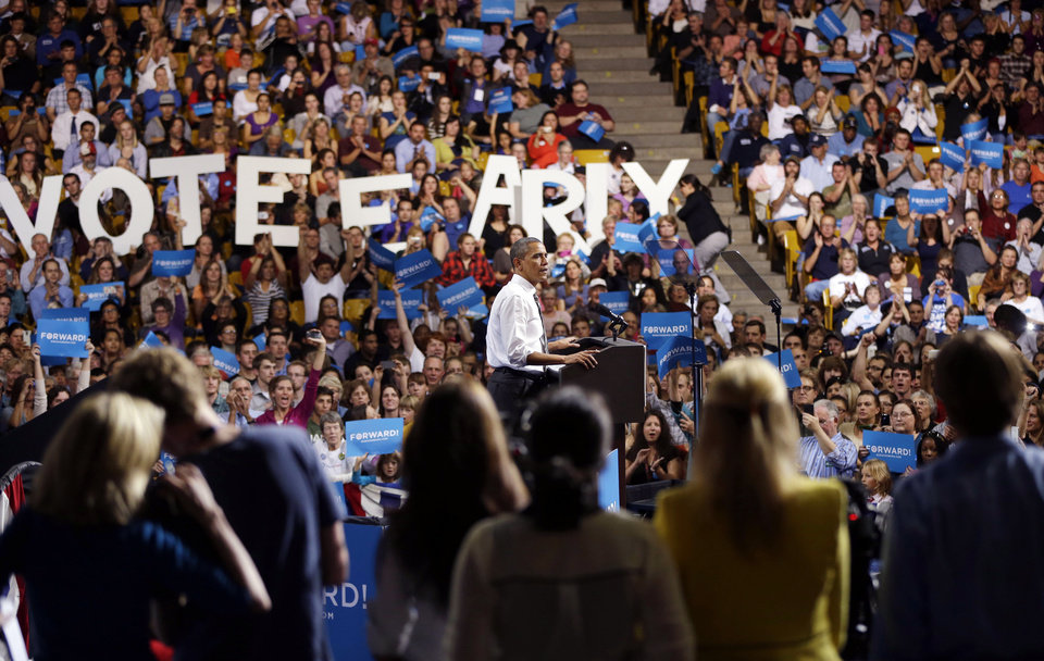 Photo -   President Barack Obama speaks during a campaign event at the University of Colorado - Boulder, Thursday, Nov. 1, 2012, in Boulder Colo. (AP Photo/Pablo Martinez Monsivais)