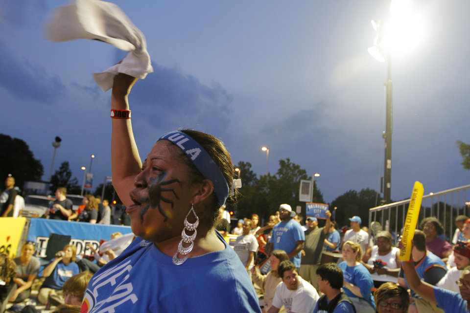 Latasha Russell, of Oklahoma City, cheers at Love's Thunder Alley, Monday, April 30, 2012.  Photo by Garett Fisbeck, For The Oklahoman