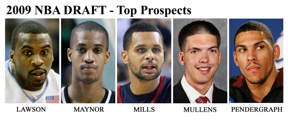 Photo - ** FOR USE AS DESIRED WITH NBA DRAFT STORIES ** FILE - From left are NBA Draft prospects Ty Lawson, North Carolina, in 2009; Eric Maynor, Virginia Commonwealth, in 2007; Patrick Mills, Saint Mary's, in 2009; B.J. Mullens, Ohio Sate., in a recent undated handout; and Jeff Pendergraph, Arizona State, in 2009. (AP Photo/HO and Files) ORG XMIT: NY242 Byron Mullens
