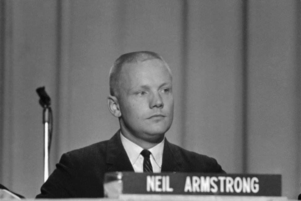 "FILE - In this Sept. 17, 1962 file photo, Neil Armstrong, one of the nine astronauts, is shown as he was introduced to the press, along with the other astronauts in Houston. The family of Neil Armstrong, the first man to walk on the moon, says he died Saturday, Aug. 25, 2012, at age 82. A statement from the family says he died following complications resulting from cardiovascular procedures. It doesn't say where he died. Armstrong commanded the Apollo 11 spacecraft that landed on the moon July 20, 1969. He radioed back to Earth the historic news of ""one giant leap for mankind."" Armstrong and fellow astronaut Edwin ""Buzz"" Aldrin spent nearly three hours walking on the moon, collecting samples, conducting experiments and taking photographs. In all, 12 Americans walked on the moon from 1969 to 1972. (AP Photo/File)"