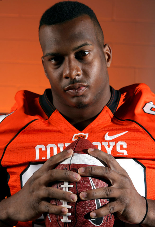 Photo - OSU COLLEGE FOOTBALL: Defensive end Richetti Jones poses for a photo during Oklahoma State University football media day in Stillwater, Okla., Saturday, August 2, 2008. BY MATT STRASEN, THE OKLAHOMAN ORG XMIT: KOD
