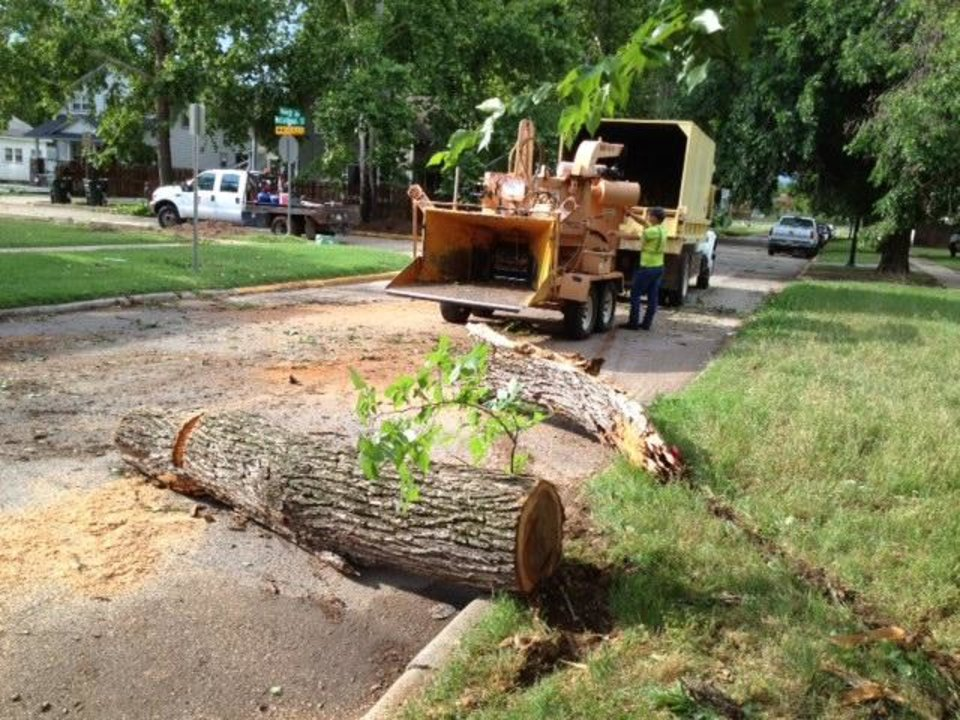 Storm cleanup on Monnett near Boyd, Norman. Photo by Steve Sisney