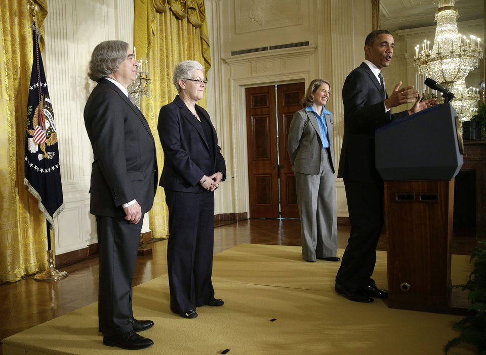 President Barack Obama announces in the East Room of the White House in Washington, Monday, March 4, 2013, he will nominate, from left:  MIT physics professor Ernest Moniz for Energy Secretary; Gina McCarthy to head the EPA;  and Walmart Foundation President Sylvia Mathews Burwell to head the Budget Office. (AP Photo/Pablo Martinez Monsivais)