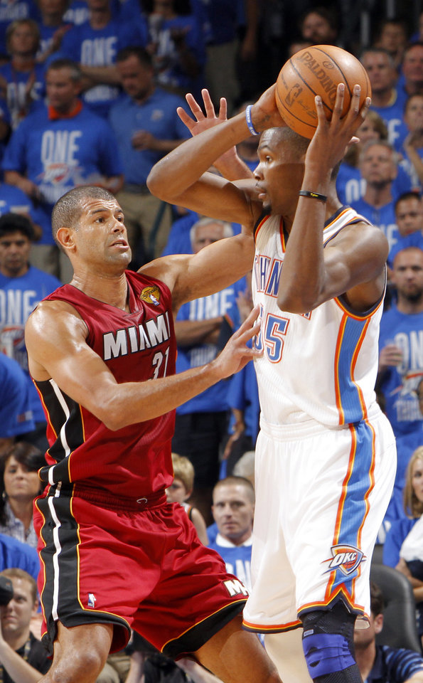 Miami's Shane Battier (31) defends on Oklahoma City's Kevin Durant (35) during Game 1 of the NBA Finals between the Oklahoma City Thunder and the Miami Heat at Chesapeake Energy Arena in Oklahoma City, Tuesday, June 12, 2012. Photo by Chris Landsberger, The Oklahoman