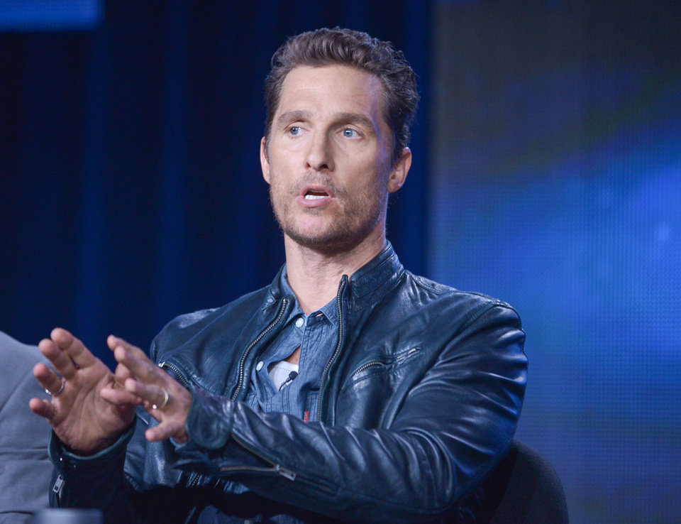 "Photo - FILE - In this Jan. 9, 2014, file photo, Matthew McConaughey talks during the panel discussion for True Detective at the HBO portion of the 2014 Winter Television Critics Association tour at the Langham Hotel in Pasadena, Calif. Shows from broadcast, cable and the Internet are vying for honors in the 66th Emmy Awards nominations. Leading contenders include dramas ""True Detective"" and ""Breaking Bad"" and four-time best comedy winner ""Modern Family."" (Photo by Richard Shotwell Invision/AP, File)"
