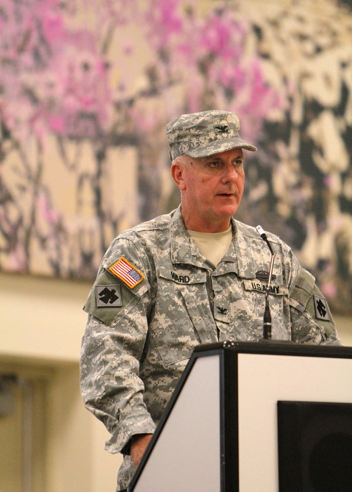 Photo - Col. Joel D. Ward speaks during the 45th Infantry Combat Team Change of Command Ceremony at the Norman Armed Forces Reserve Center on Sunday.