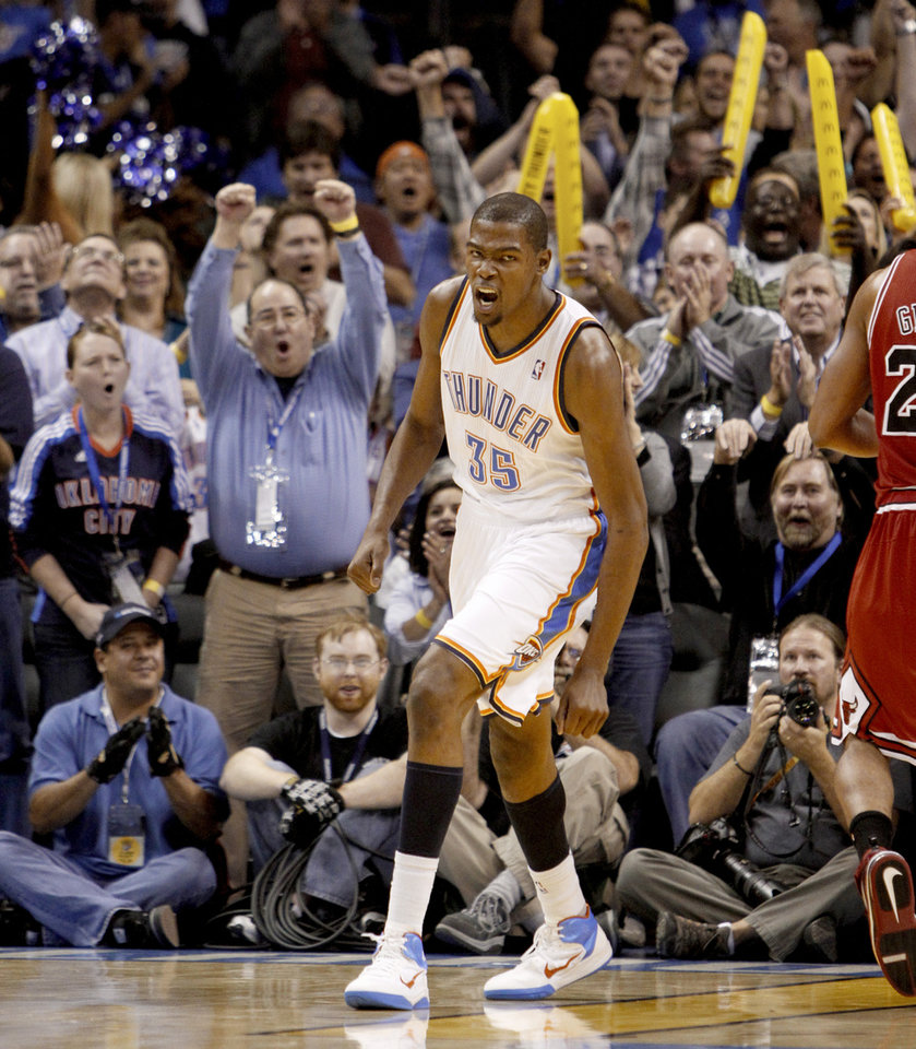 Oklahoma City's Kevin Durant reacts during the NBA basketball game between the Oklahoma City Thunder and the Chicago Bulls in the Oklahoma City Arena on Wednesday, Oct. 27, 2010. Photo by Bryan Terry, The Oklahoman