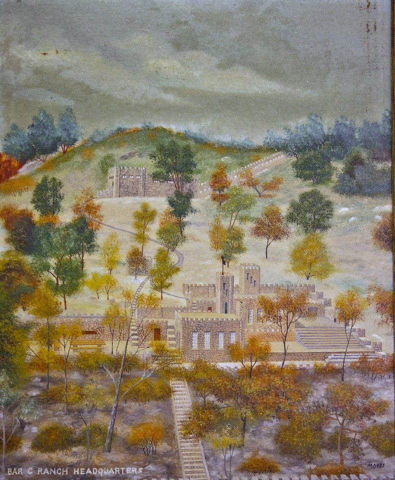 COLLINGS CASTLE / ELLSWORTH COLLINGS: A painted portrait of the historic Collings Castle located in Turner Falls Park on Thursday, April 14, 2011, in Davis, Okla. Photo by Chris Landsberger, The Oklahoman ORG XMIT: KOD