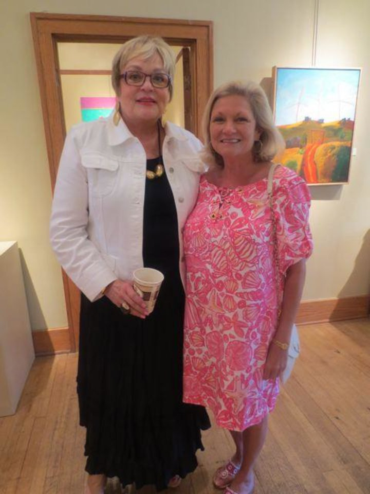 Joy Reed Belt welcomes Meg Salyer to the 9th annual Prix de West brunch at JRB Art at the Elms. (Photo by Helen Ford Wallace).