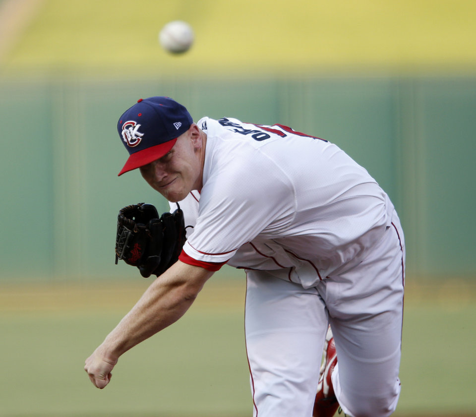 Brett Oberholtzer pitches against the Sacramento River Cats during a baseball game at  Chickasaw Bricktown Ballpark in Oklahoma City, Friday, August 10, 2012. Photo by Bryan Terry, The Oklahoman
