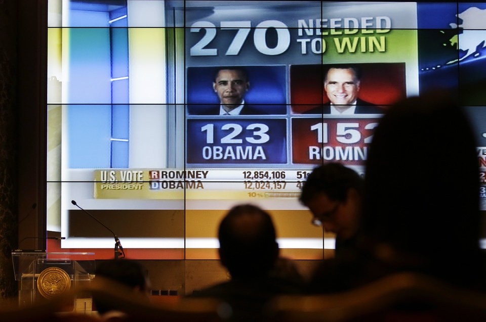 Photo -   U.S. elections results are broadcasted on a screen during a reception organized by the U.S. embassy on the occasion of the 2012 U.S. Presidential election, in Rome, Wednesday, Nov. 7, 2012. (AP Photo/Gregorio Borgia)