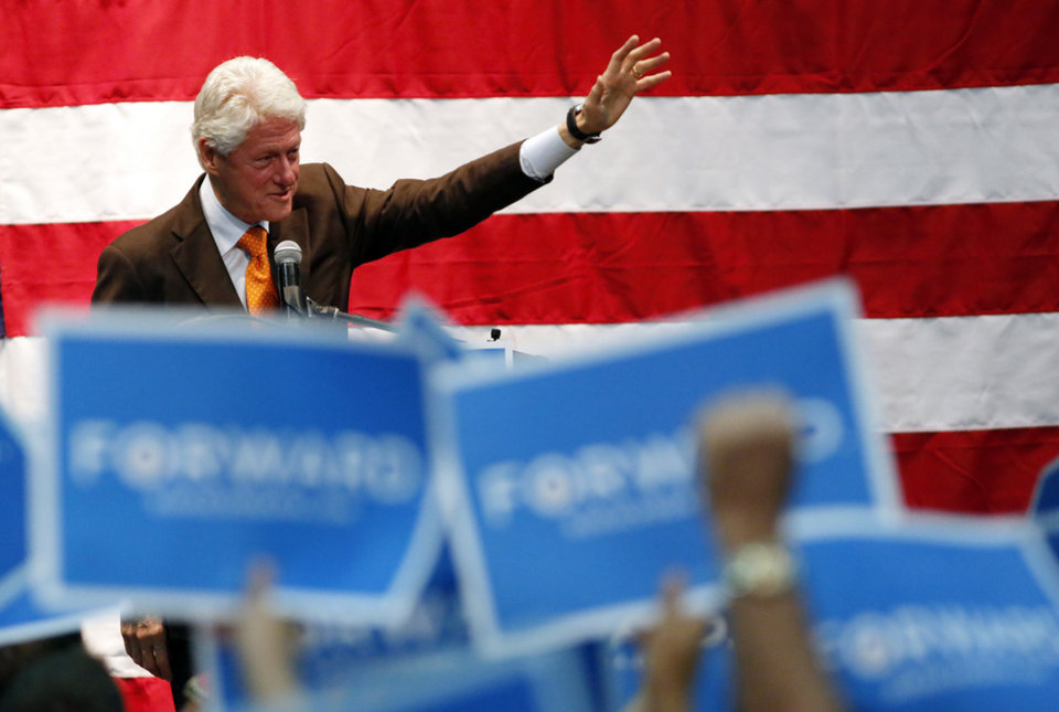 Former President Bill Clinton speaks at a campaign event for Barack Obama at the Coliseum in St. Petersburg, Fla. Friday, Nov. 2. 2012. (AP Photo/Scott Iskowitz)