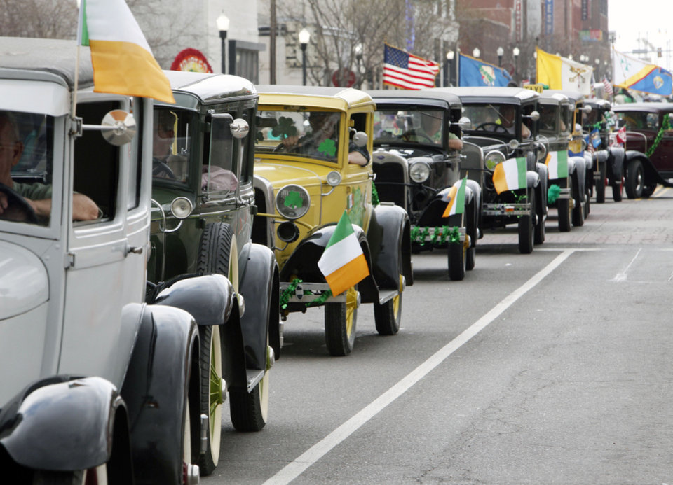 Model As drive down the parade route during the annual St. Patrick\'s Parade in downtown Oklahoma City, OK, Saturday, March 19, 2011. By Paul Hellstern, The Oklahoman
