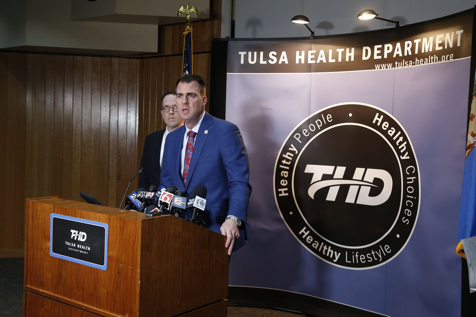 Photo - Oklahoma Governor Kevin Stitt and Tulsa Mayor G.T. Bynum announcing that Tulsa County has its first case of the Coronavirus in Tulsa, OK, Mar. 6, 2020. STEPHEN PINGRY/Tulsa World