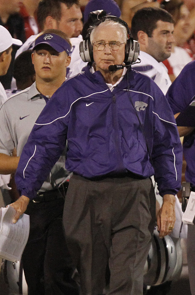 Kansas State coach Bill Snyder walks the sideline during the college football game between the University of Oklahoma Sooners (OU) and the Kansas State University Wildcats (KSU) at the Gaylord Family-Memorial Stadium on Saturday, Sept. 22, 2012, in Norman, Okla. Photo by Chris Landsberger, The Oklahoman
