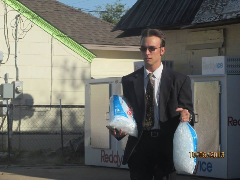 Photo - Accused killer Thorsten Rushing is shown in this Facebook photo carrying two bags of ice. Along with the photo, he posted the following text: