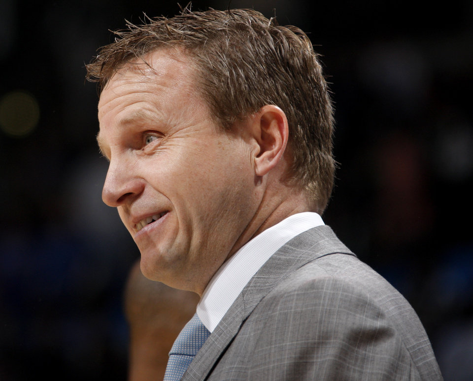 Thunder coach Scott Brooks likes his team because of how much the players care. Photo by Bryan Terry, The Oklahoman