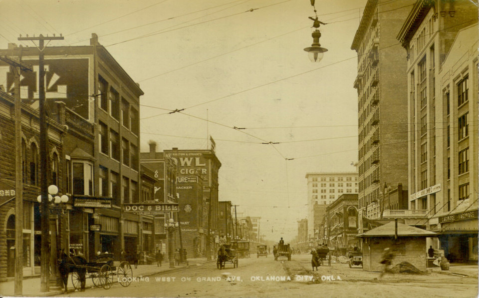 An early day photograph shows a view looking west on Grand Avenue in Oklahoma City. OKLAHOMA HISTORICAL SOCIETY PHOTO