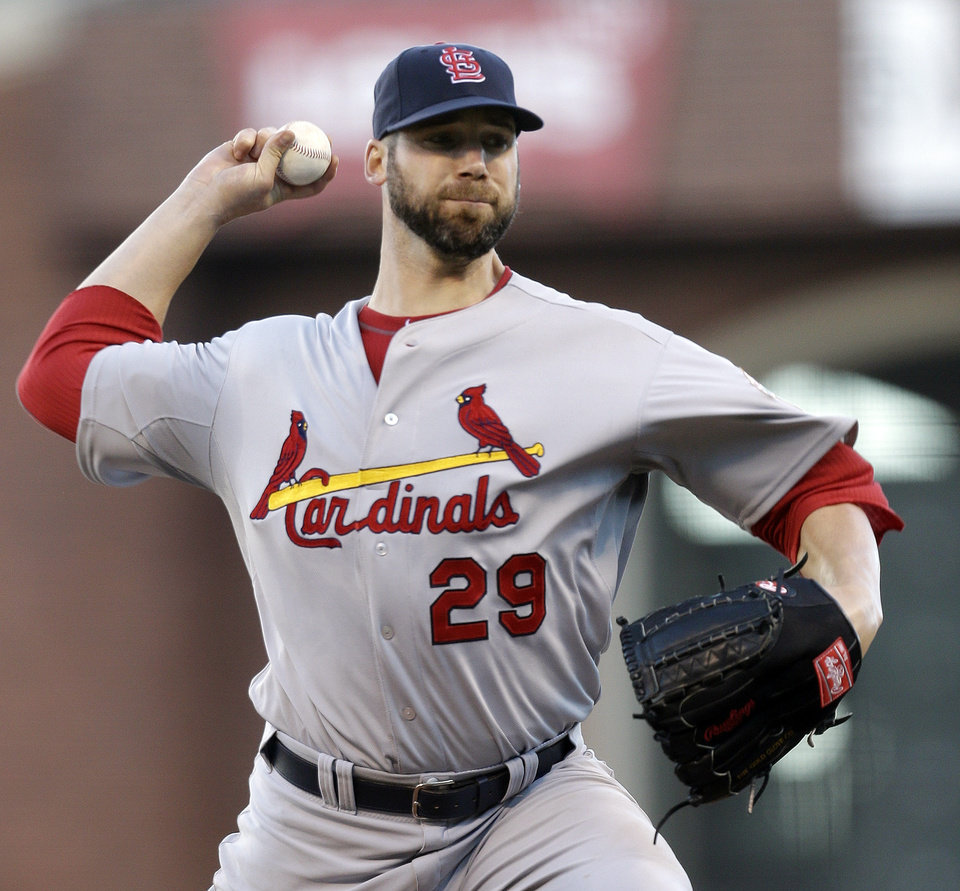 Photo -   St. Louis Cardinals starting pitcher Chris Carpenter throws during the first inning of Game 2 of baseball's National League championship series against the San Francisco Giants Monday, Oct. 15, 2012, in San Francisco. (AP Photo/Ben Margot)