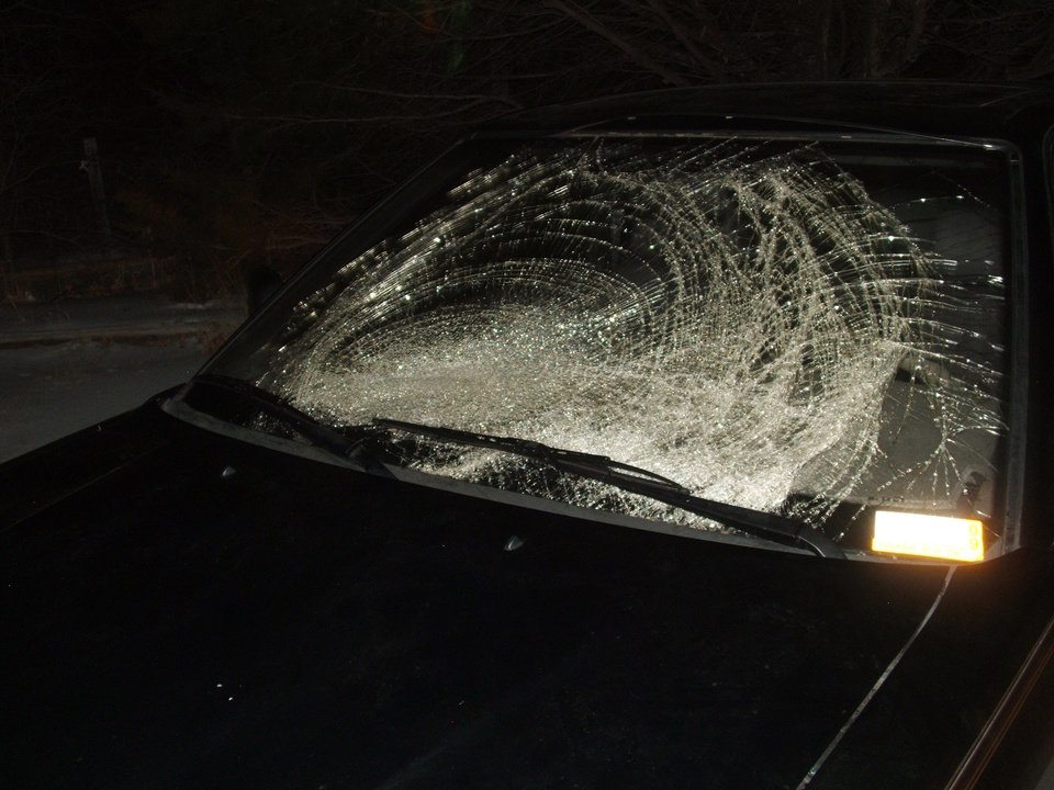 This is what happens when an irresponsible person doesn\'t remove the ice from her car and drives on I35. The ice blew off her car and struck my windshield. Community Photo By: Robert Thomas Submitted By: Robert, Guthrie