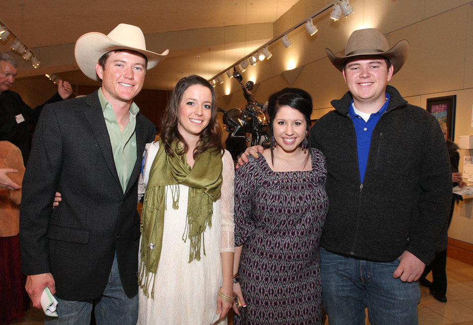 Photo - Tyler Crow (artist, Apache,OK), Katie Campbell, Shaelynn Rios, Tanner Crow. Photo by David Faytinger for the Oklahoman