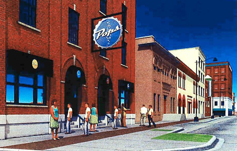 Photo - This artist's rendering shows what POPS, the popular restaurant and convenience store on Route 66 in Arcadia, might look like at a location in Bricktown. Illustration