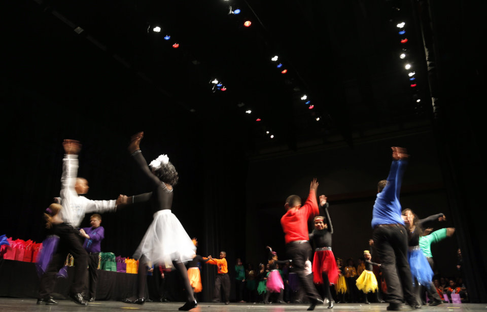 Photo -  Students perform during the LifeChange Ballroom competition at the Rose State Performing Arts Theatre in Midwest City. Photo by Sarah Phipps, The Oklahoman   Sarah PHIpps -  Sarah Phipps