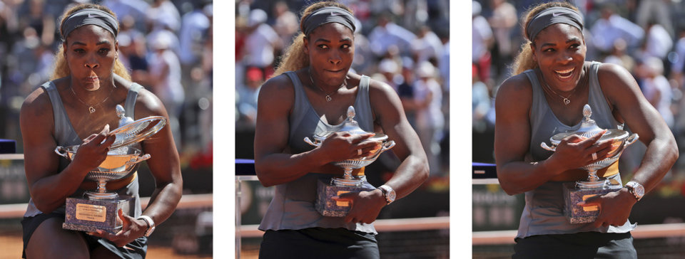 Photo - In this three pictures combo Serena Williams catches the trophy to prevent it from falling down, after winning the final match against Italy's Sara Errani at the Italian open tennis tournament in Rome, Sunday, May 18, 2014. Serena Williams kept the crowd from being a factor in a 6-3, 6-0 victory over 10th-seeded Sara Errani to win the Italian Open for the third time Sunday.(AP Photo/Gregorio Borgia)