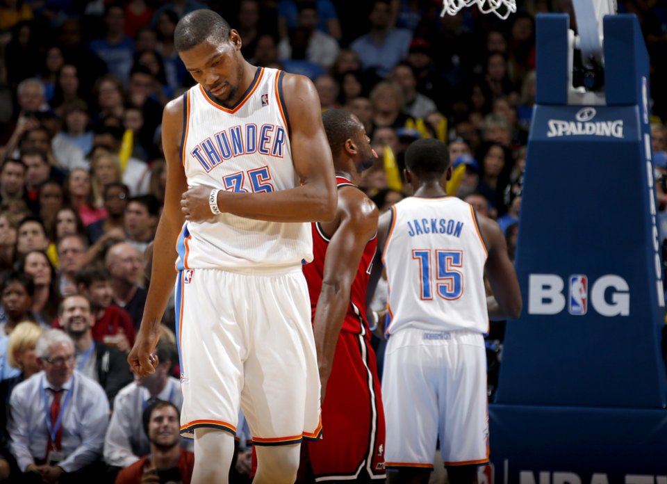 Oklahoma City\'s Kevin Durant (35) reacts during an NBA basketball game between the Oklahoma City Thunder and the Miami Heat at Chesapeake Energy Arena in Oklahoma City, Thursday, Feb. 15, 2013. Photo by Bryan Terry, The Oklahoman