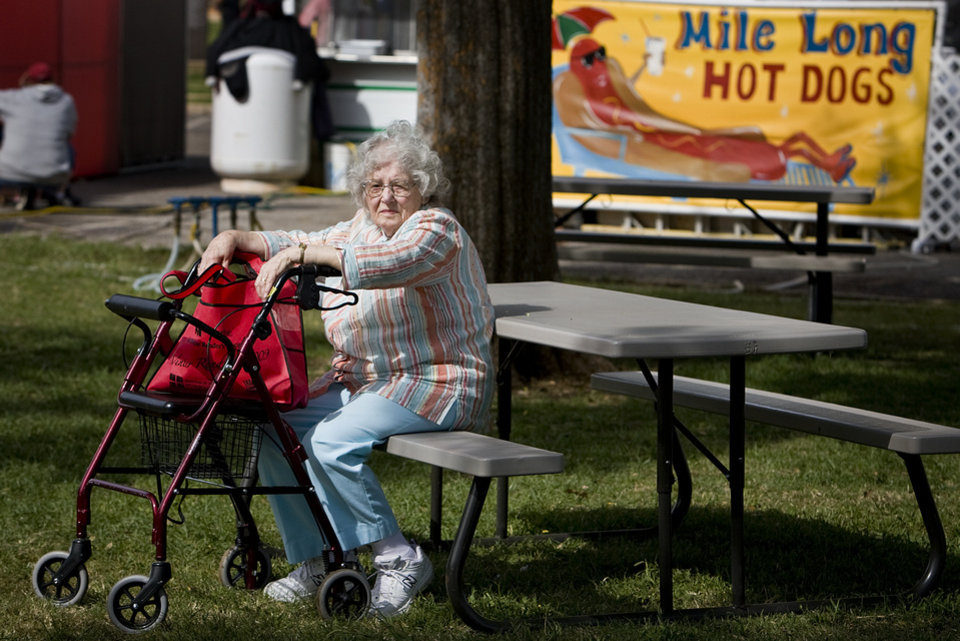 Photo - Marian Shaw takes a break from the action at the 2009 Oklahoma State Fair at State Fair Park during Senior Day on Wednesday, Sept. 23, 2009, in Oklahoma City, Okla.  Photo by Chris Landsberger, The Oklahoman.