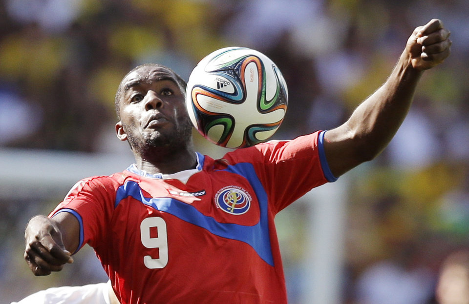 Photo - Costa Rica's Joel Campbell controls the ball during the group D World Cup soccer match between Costa Rica and England at the Mineirao Stadium in Belo Horizonte, Brazil, Tuesday, June 24, 2014. (AP Photo/Matt Dunham)