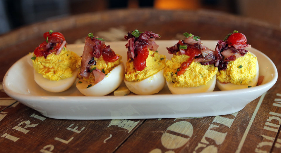 Photo - Deviled eggs are seen at the Whiskey Cake Kitchen and Bar in Oklahoma City. Photo by Sarah Phipps, The Oklahoman  SARAH PHIPPS - SARAH PHIPPS