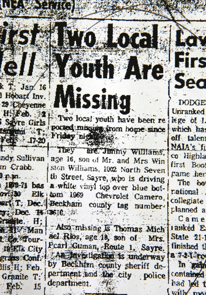 A Sayre newspaper printed an article regarding teens who went missing from Sayre on Nov. 20, 1970. The discovery of three bodies in a 1969 Camaro in Foss Lake on Tuesday could provide answers in the decades-old cold cases. <strong>David McDaniel - The Oklahoman</strong>