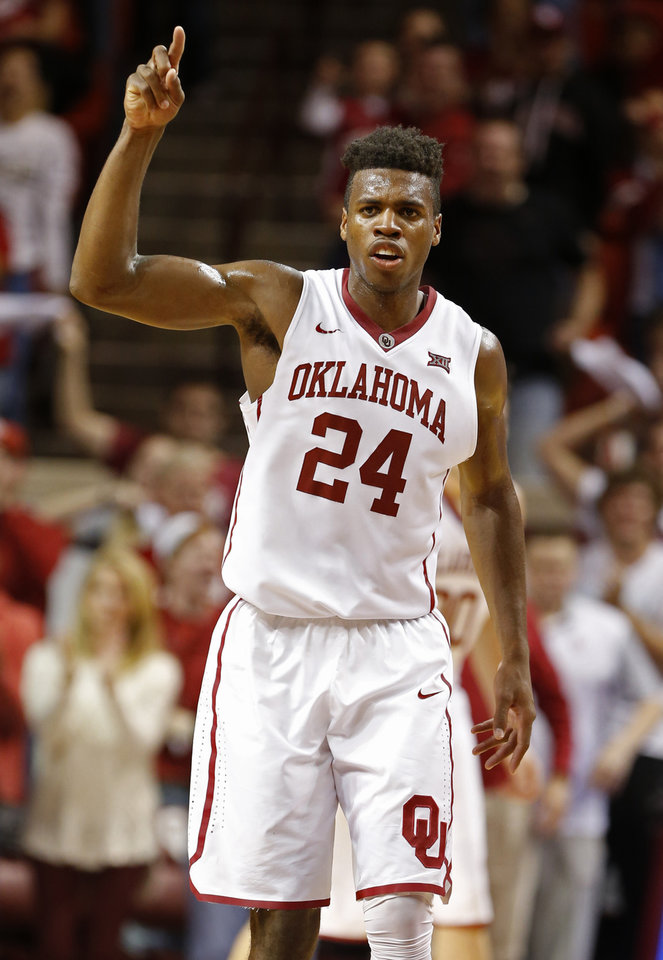 Photo -  Oklahoma's Buddy Hield (24) reacts to play in the second half as the University of Oklahoma Sooner (OU) men defeat the Iowa State Cyclones 87-83 in NCAA, college basketball at The Lloyd Noble Center on Jan. 2, 2016 in Norman, Okla. Photo by Steve Sisney, The Oklahoman