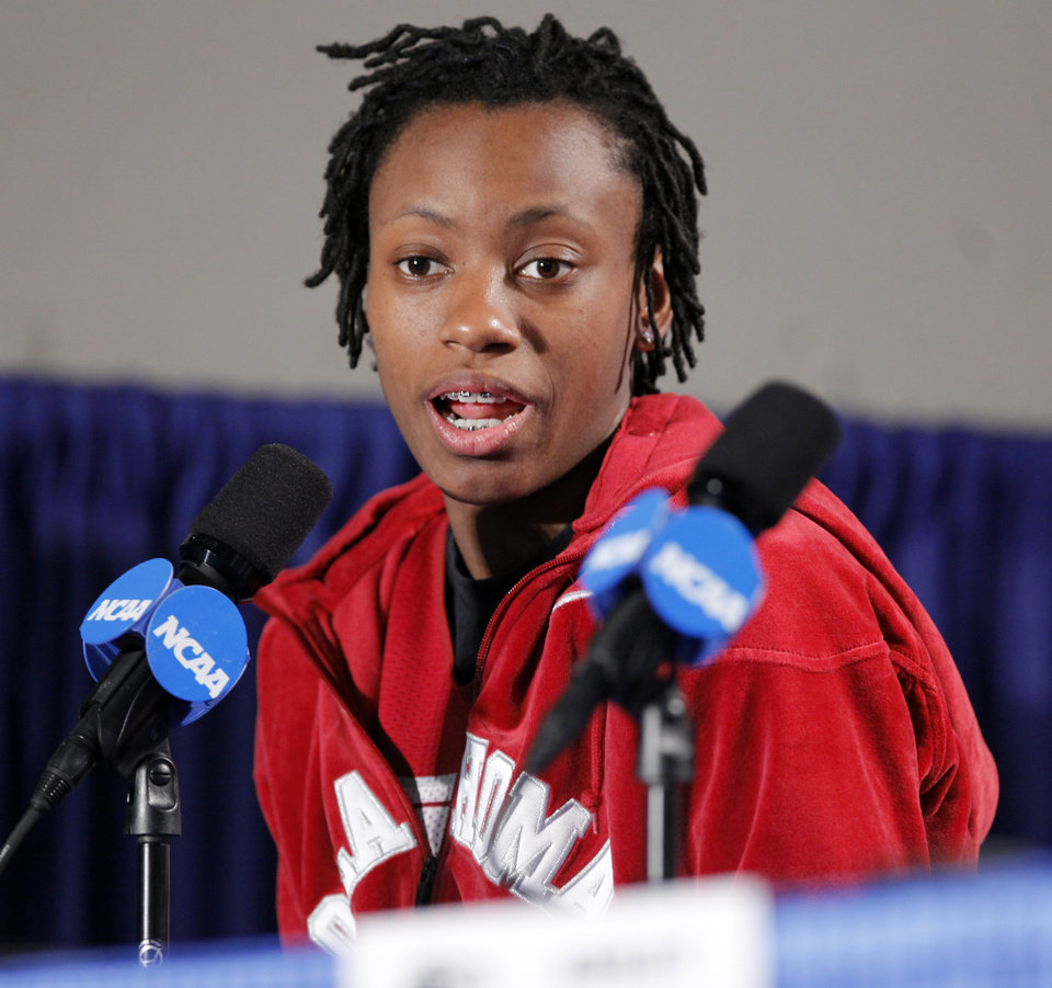 University of Oklahoma player Whitney Hand speaks to the media before the Sooners elite eight appearance in NCAA women\'s basketball tournament at the Ford Center in Oklahoma City, Okla. on Monday, March 30, 2009. PHOTO BY STEVE SISNEY, THE OKLAHOMAN