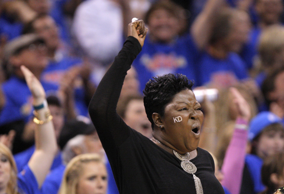 Wanda Pratt mother of Oklahoma City\'s Kevin Durant (35) celebrates during game 7 of the NBA basketball Western Conference semifinals between the Memphis Grizzlies and the Oklahoma City Thunder at the OKC Arena in Oklahoma City, Sunday, May 15, 2011. Photo by Sarah Phipps, The Oklahoman