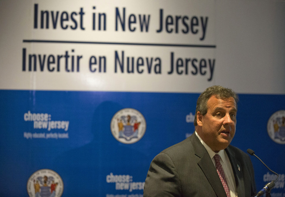 Photo - New Jersey Gov. Chris Christie speaks at a gathering promoting New Jersey for foreign business investment in Mexico City, Wednesday, Sept. 3, 2014. New Jersey exports $2 billion worth of goods to Mexico, and tens of thousands of New Jersey jobs rely on the relationship. (AP Photo/Rebecca Blackwell)