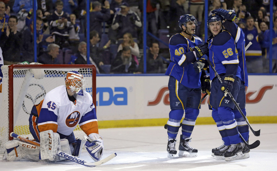 St. Louis Blues' Magnus Paajarvi (56), of Sweden, is congratulated by teammate Maxim Lapierre (40) after scoring past New York Islanders goalie Anders Nilsson (45), of Sweden, during the second period of an NHL hockey game Thursday, Dec. 5, 2013, in St. Louis. (AP Photo/Jeff Roberson)