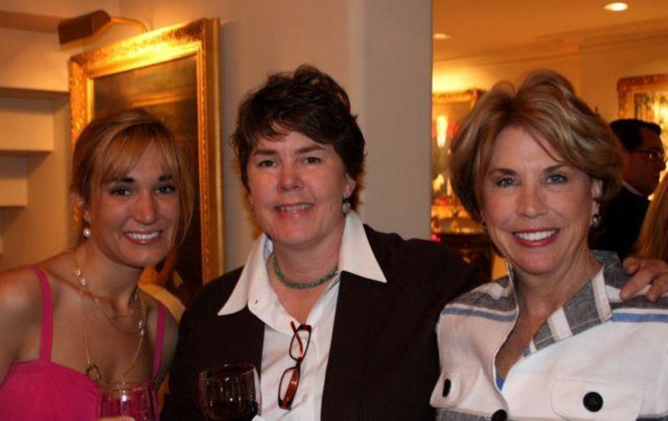 PARTY TO REMEMBER.....Leigh Smith, Lucy Covington and Peggy Duncan were at the wine shower honoring Margot Smith and Mike Gray in the home of Seyan and John Hefner. (Photo provided).
