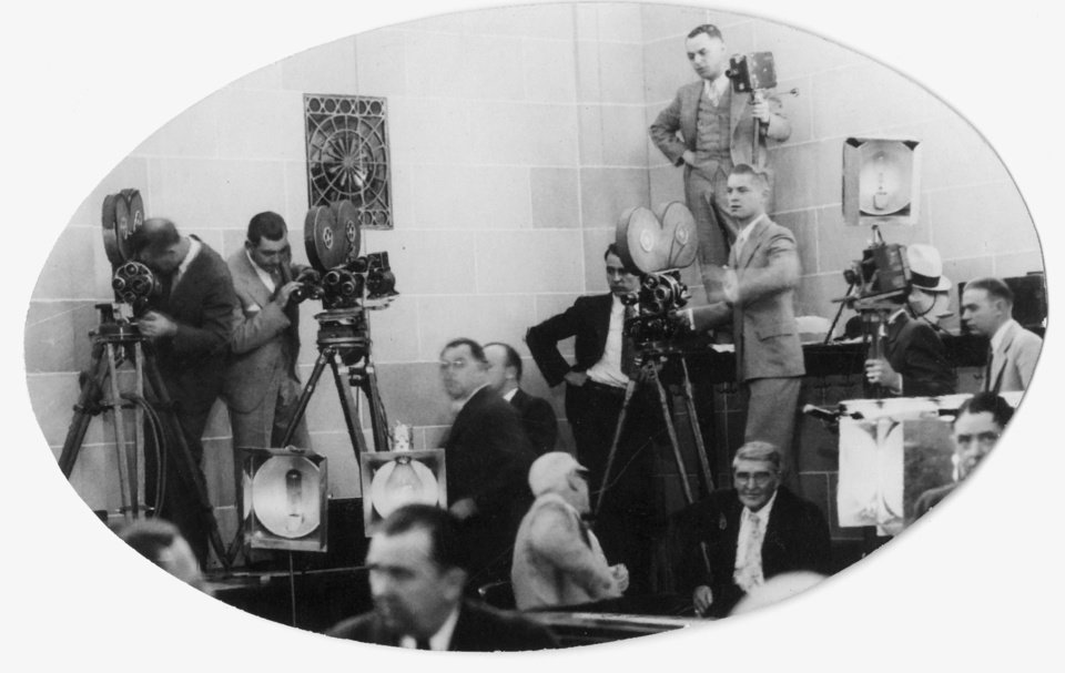 Photo - Photographers line the federal courtroom walls during the Charles F. Urschel kidnapping trial. 10/8/1933