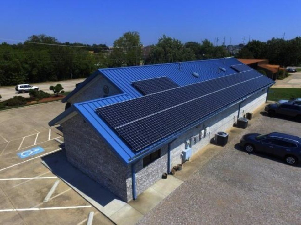 Photo -  Solar Power of Oklahoma also installs systems on commercial properties, like this animal clinic in Moore. [PROVIDED BY SOLAR POWER OF OKLAHOMA]